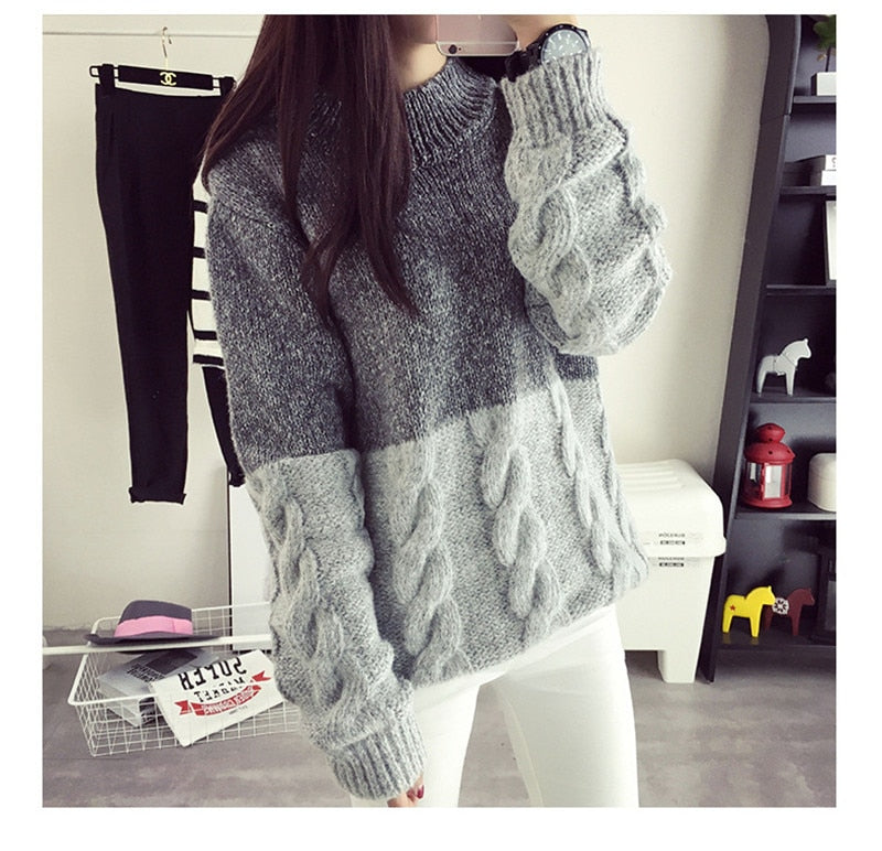 613a8608a07cf9 O-neck knitted pullover sweater Women patchwork color soft jumper pull  femme Autumn winter 2018 ...