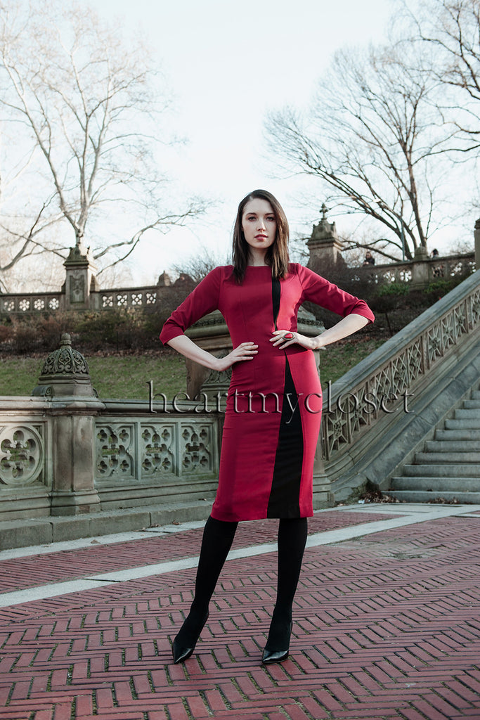 two tone - colorblock dress with long sleeves - heartmycloset
