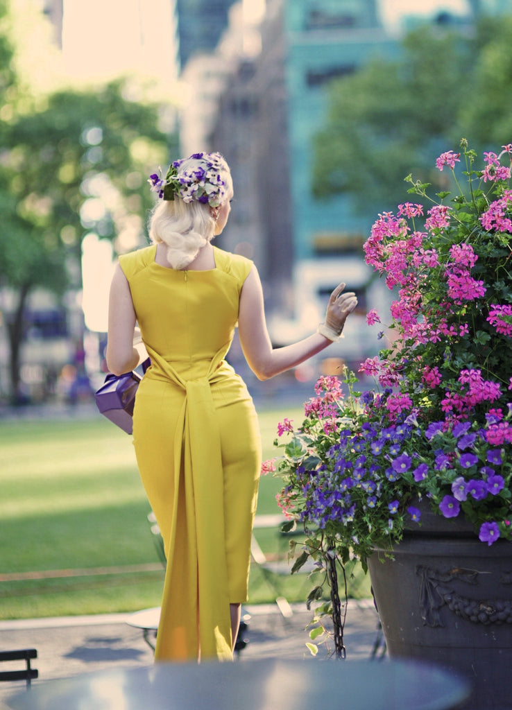 stunning yellow - pencil dress with sash - heartmycloset