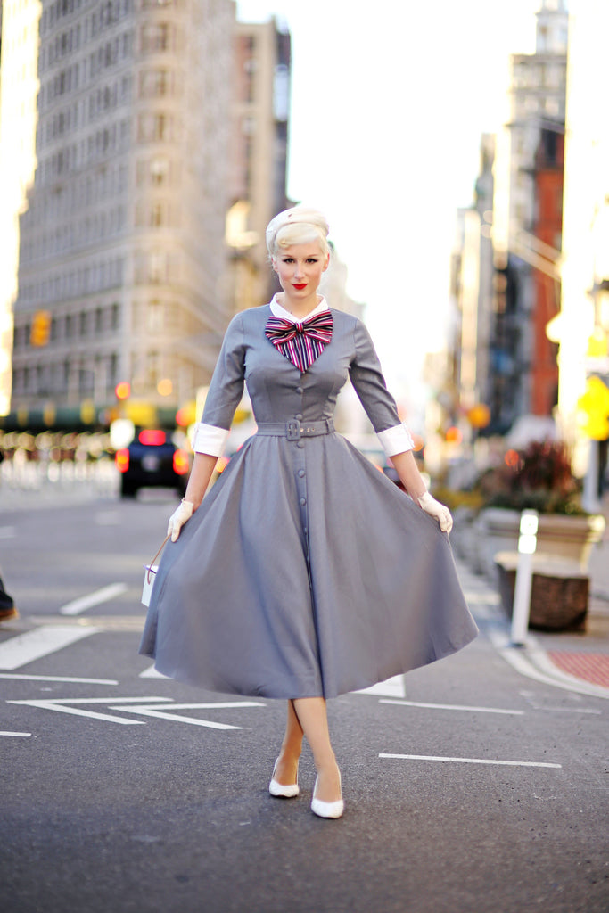 grey swing dress - vintage tv inspired dress