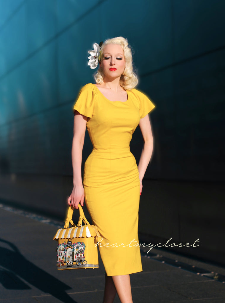 Summer yellow - pencil dress with short sleeves
