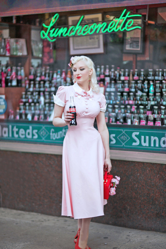 CECIL - pink bow dress with white lace