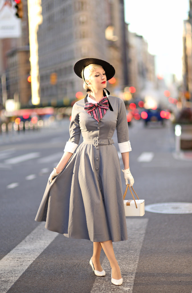 grey swing dress - vintage tv inspired dress - heartmycloset