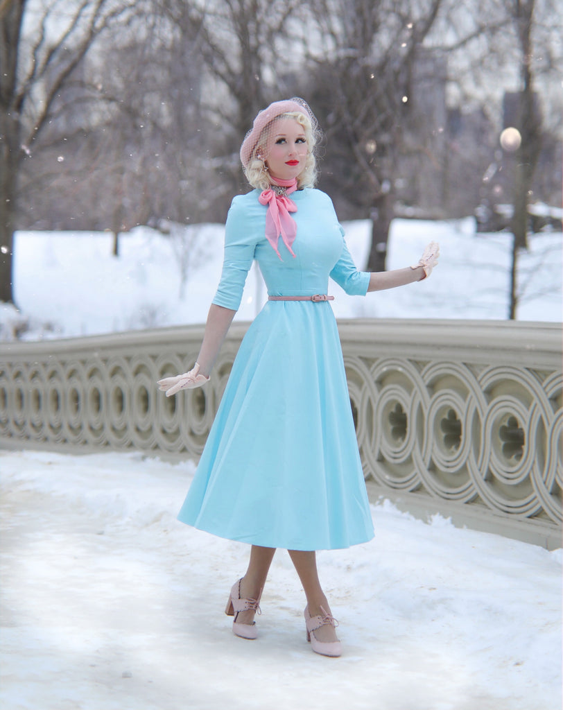 Mint blue pastel dress - swing dress with high collar