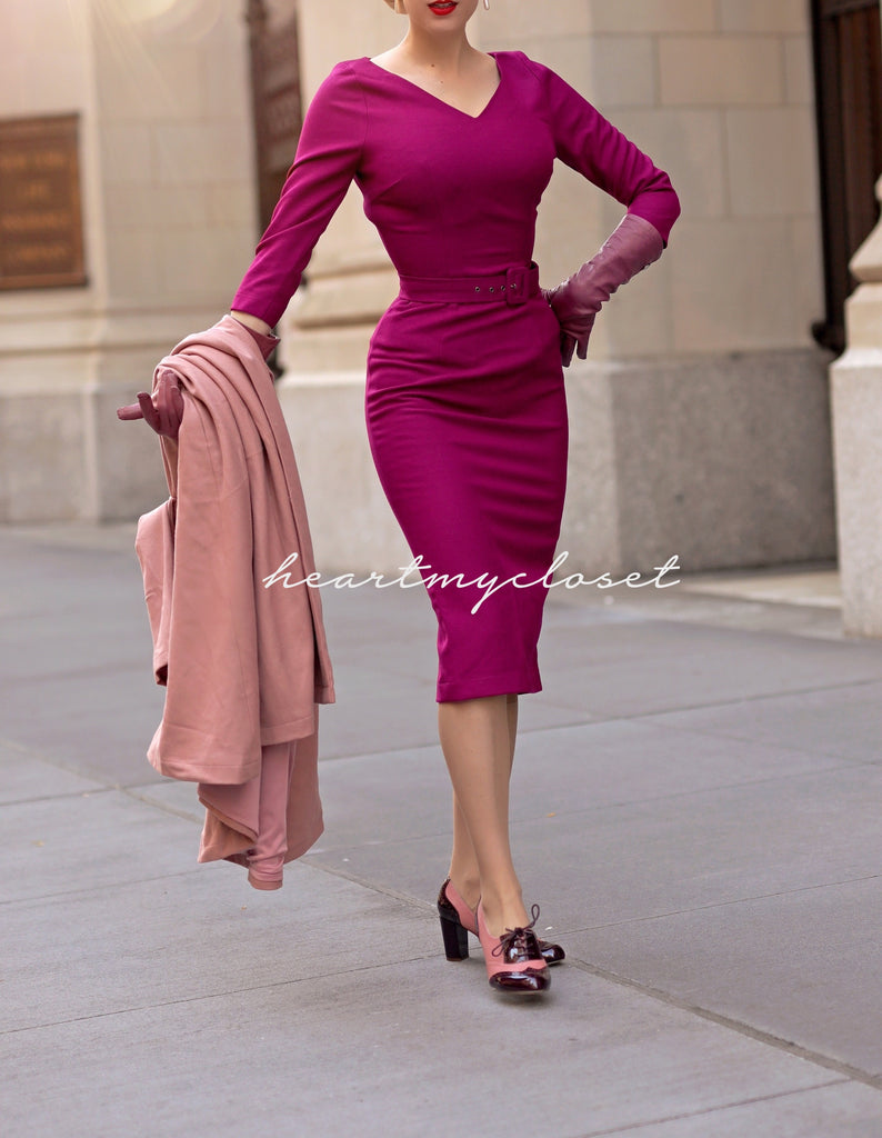 V NECK - pencil wiggle dress with V neckline