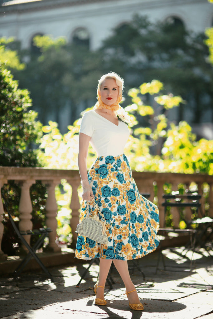 Floral dress - vintage inpsired swing floral - heartmycloset