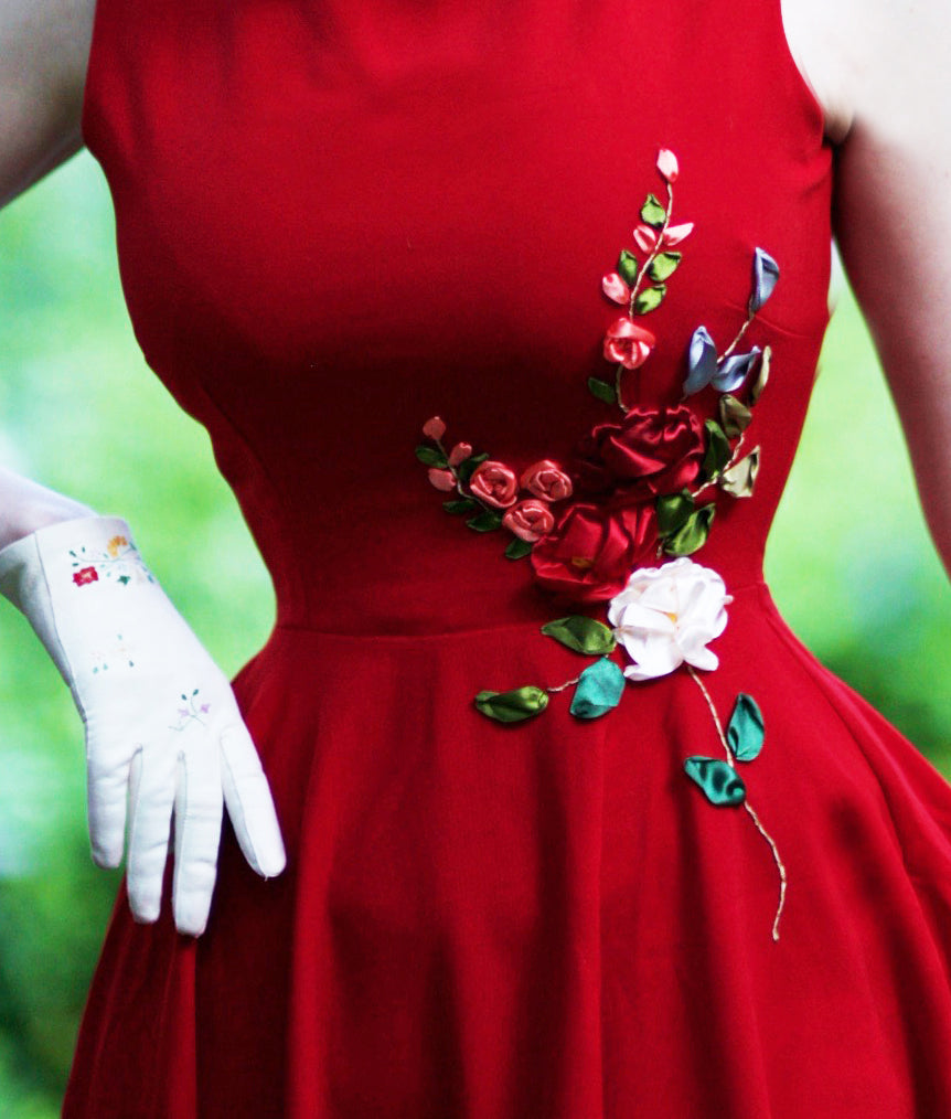 red camellia - 3D ribbon embroidery dress - heartmycloset