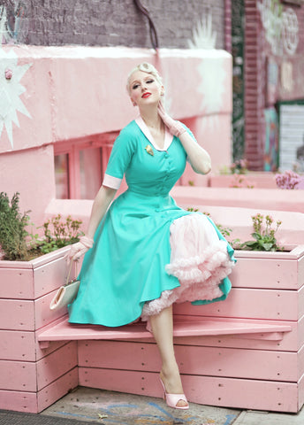 swing turquoise dress - light pink contrast