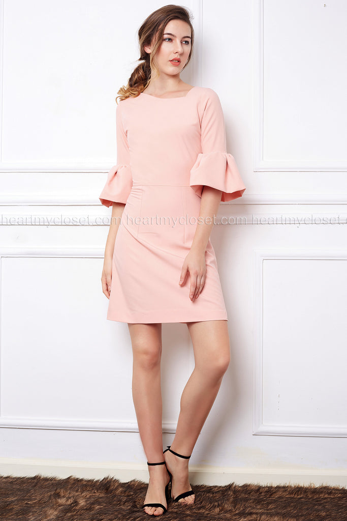sweet ruffle sleeve - nude pink ruffle sleeve dress pencil/Aline - heartmycloset