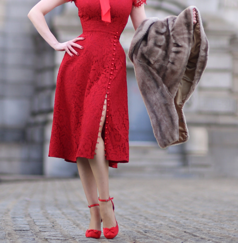 Abigail-2 - red lace dress with pearl buttons - heartmycloset