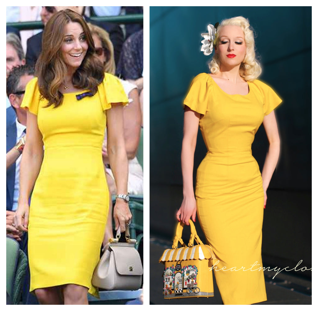 Kate Middleton bright yellow - pencil dress with short sleeves