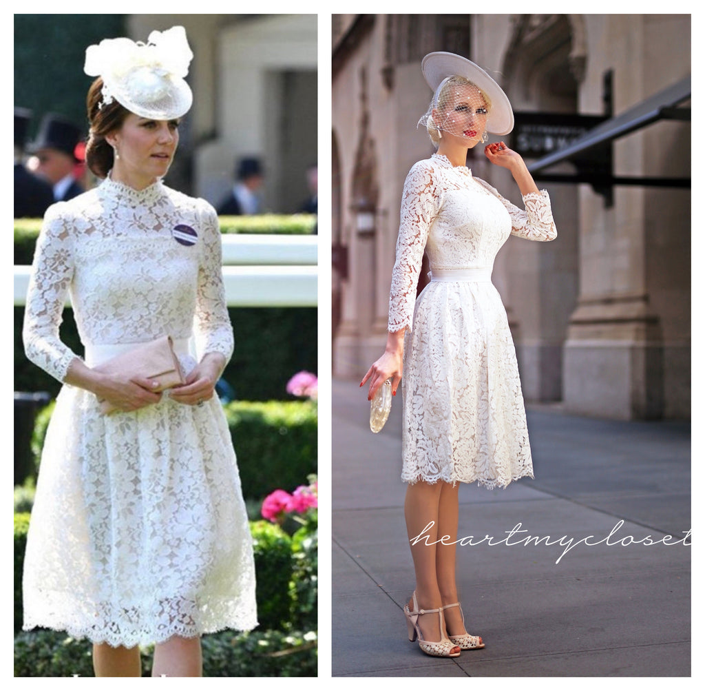 Kate Middleton white lace - cocktail dress