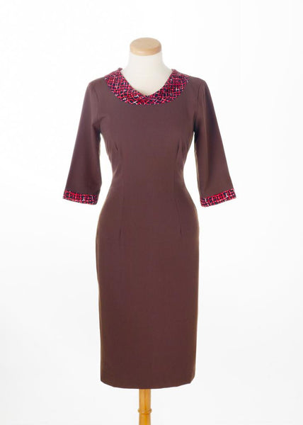 JANA - retro wiggle dress with satin scarf