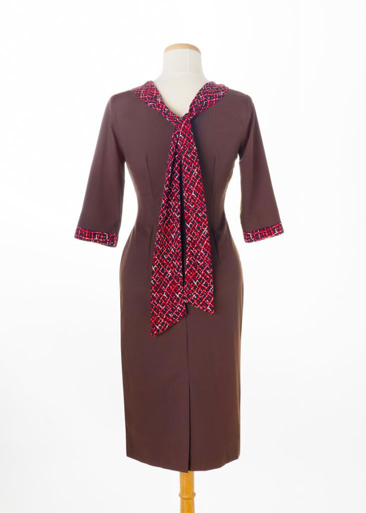 JANA - retro wiggle dress with satin scarf - heartmycloset