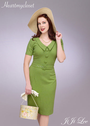 Vanessa - retro wiggle dress with V neck and covered buttons