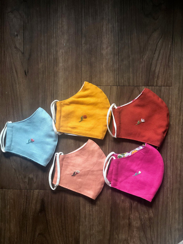 KIDS Linen embroidered Face Masks