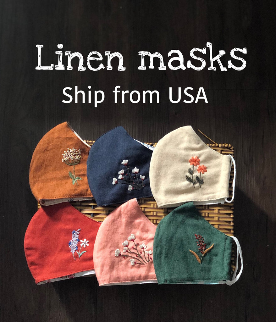 Linen embroidered Face Masks