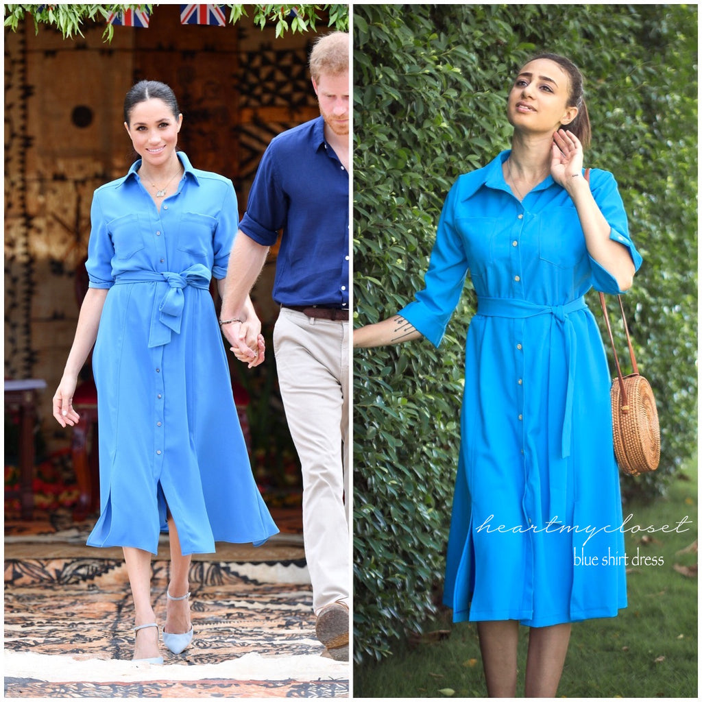 blue shirt dress - Meghan Markle inspired dress