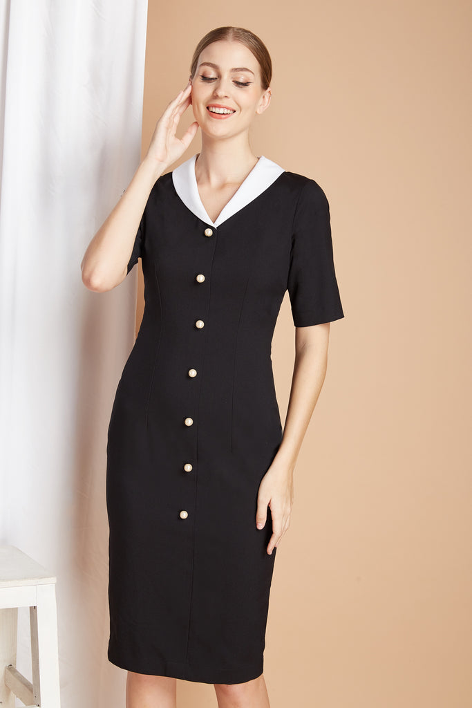 PEARL BUTTONS - Pencil dress with white contrast collar - heartmycloset