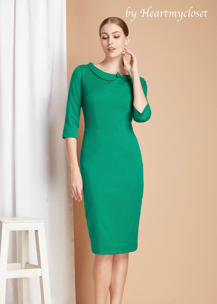 Celia - pencil shape dress with bow - heartmycloset