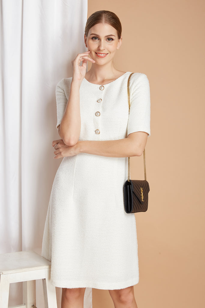 Amelia - white tweed dress - heartmycloset