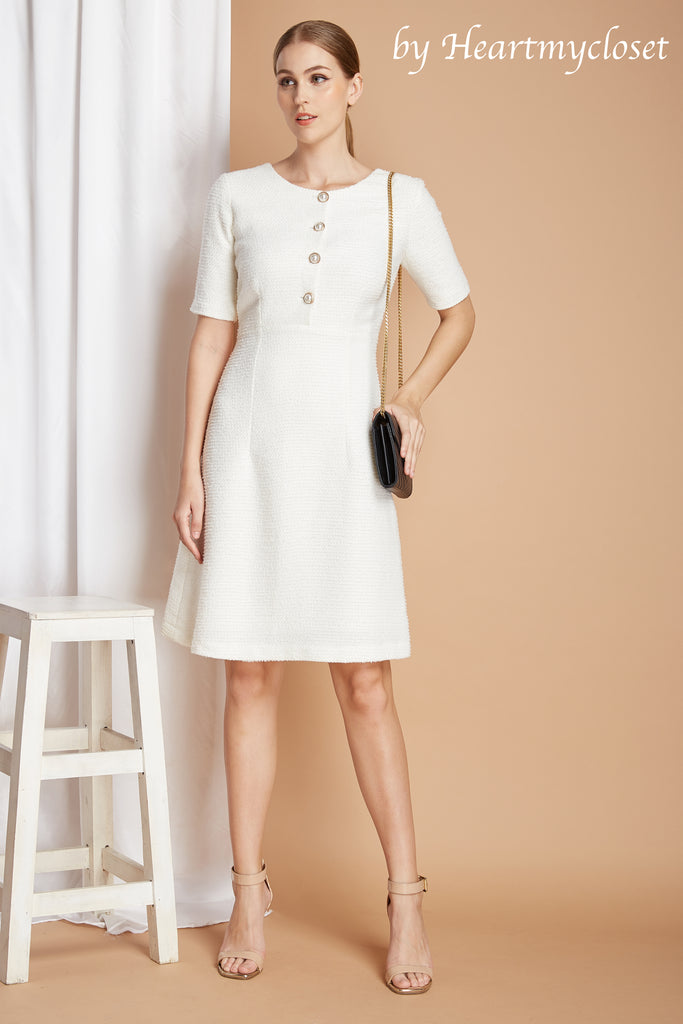Amelia - white tweed dress
