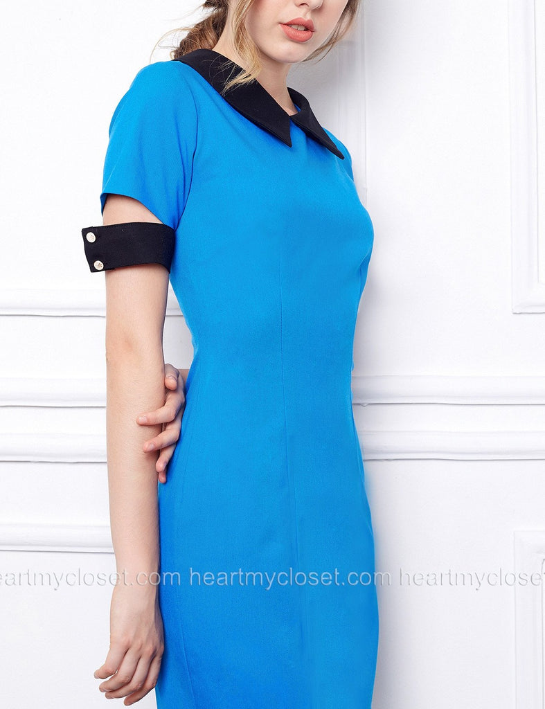Verona - short sleeves pencil dress with falling cuffs - heartmycloset