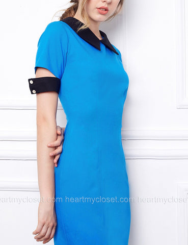 Verona - short sleeves pencil dress with falling cuffs
