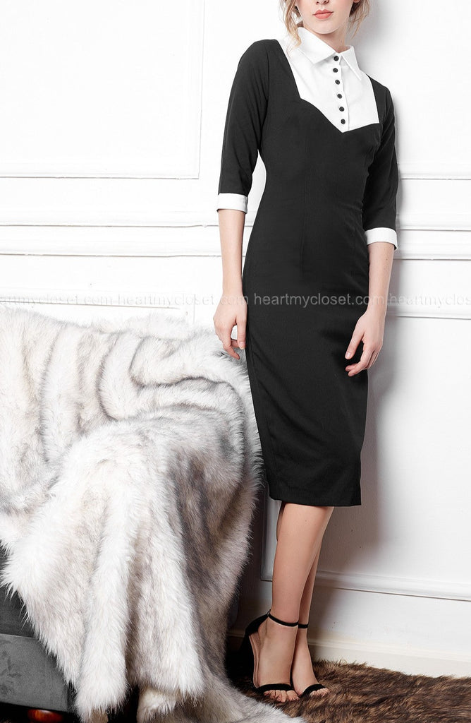 Calla- little black dress pencil w/ white contrast - heartmycloset