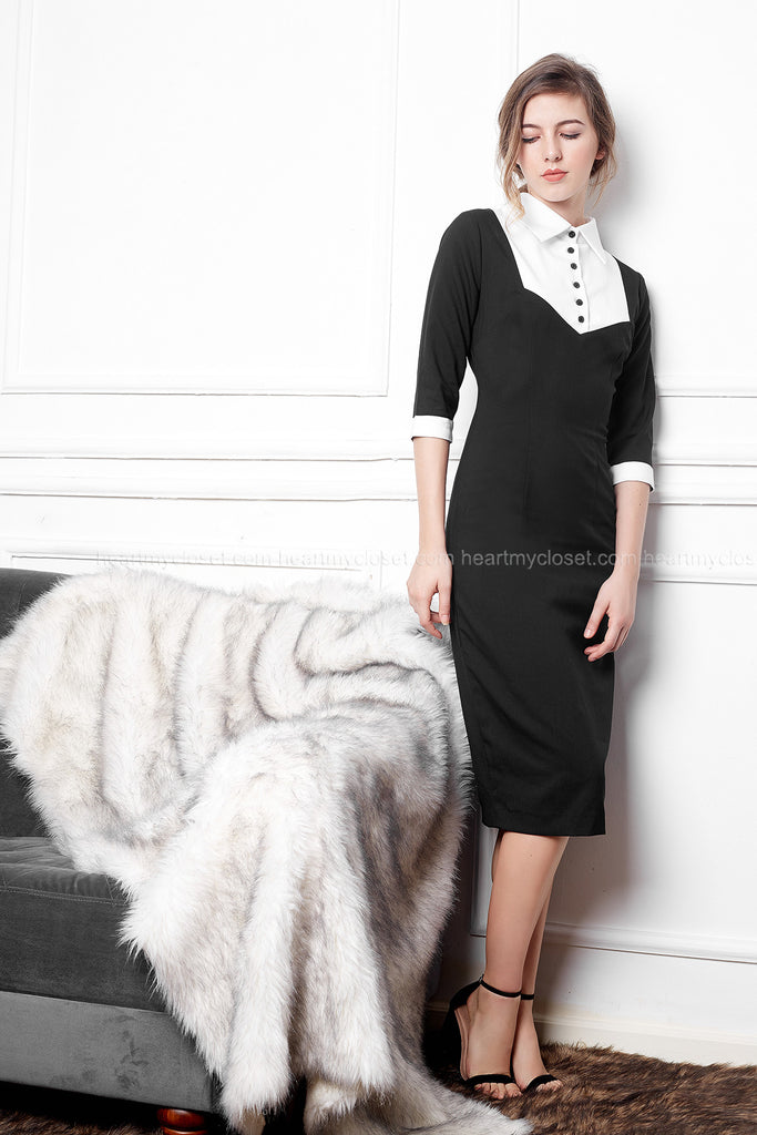 Calla dress- little black dress pencil w/ white contrast - heartmycloset