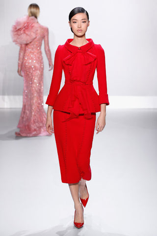 stunning suit - runway red suit with bow