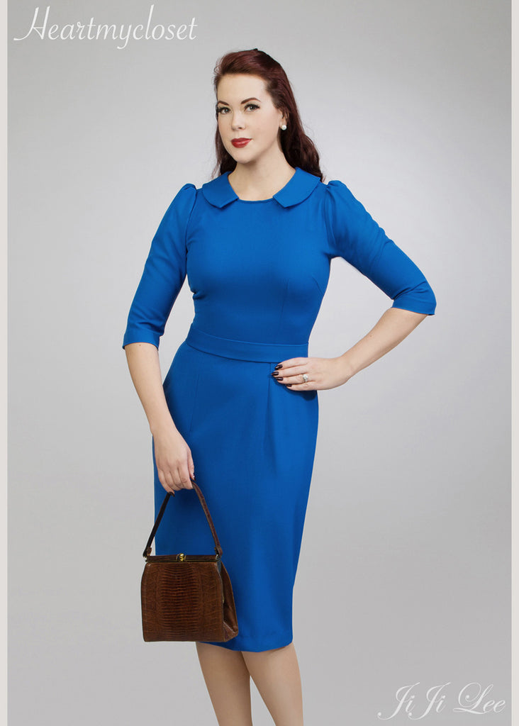 Kate Blue - blue wiggle dress with slight puff sleeves - heartmycloset