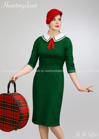 Scarlet - a 1950s vintage dress with contrast collar and bow