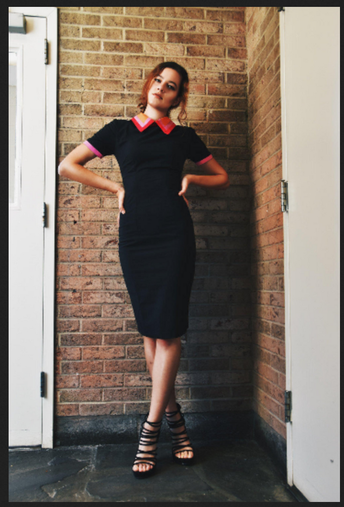 andrea - 1940s vintage dress with colorblock collar - heartmycloset