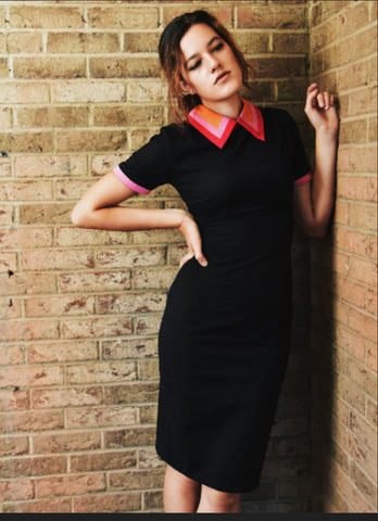 andrea - 1940s vintage dress with colorblock collar