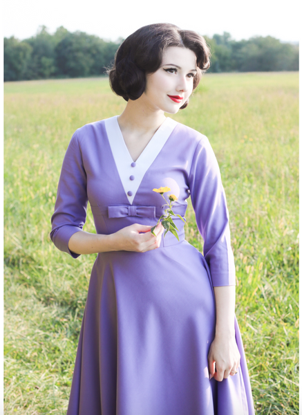 ASHLEY  - Lavender dress with white contrast