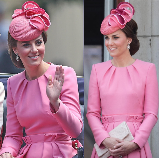 kate middleton pink pleated - swing dress celeb inspired custom made