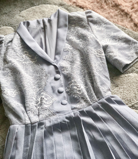 grey crepe- Kate Middleton style inspired dress