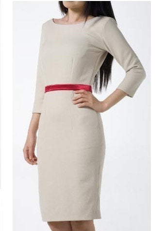 Cindy - boatneck pencil dress long sleeves
