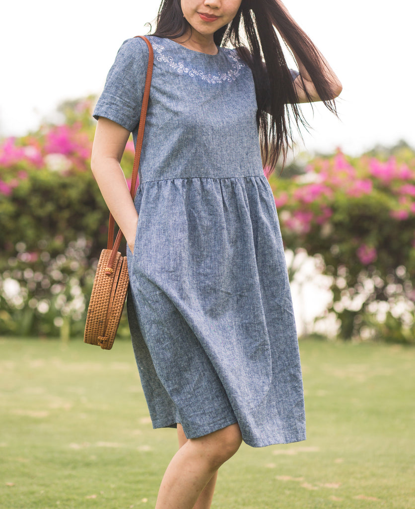 Eve - embroidery linen dress casual