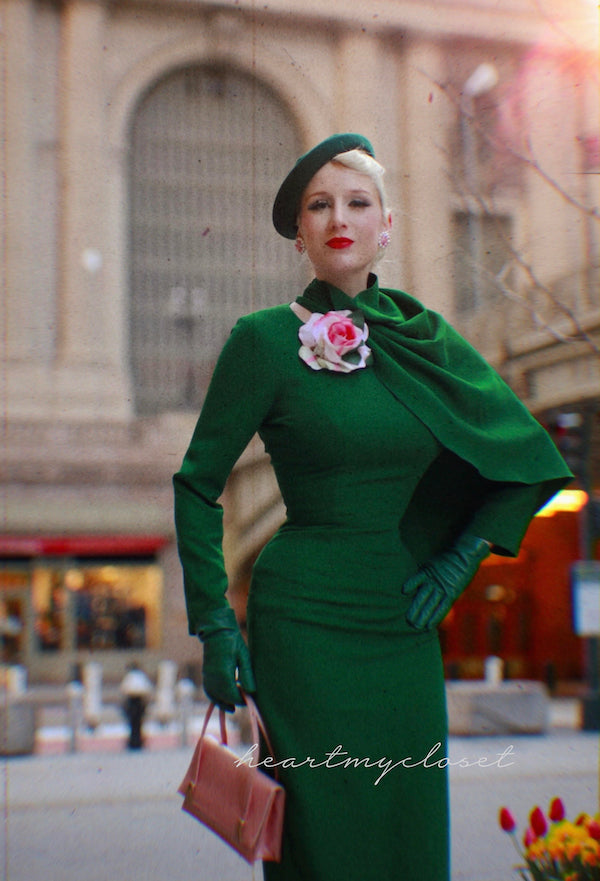 Green Semi Cape dress - Meghan Markle inspired