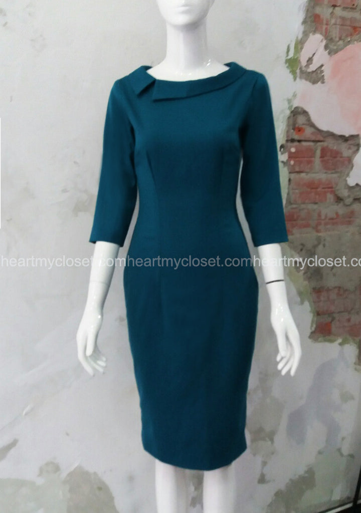 headmistress - offside boatneck roll collar pencil dress - heartmycloset