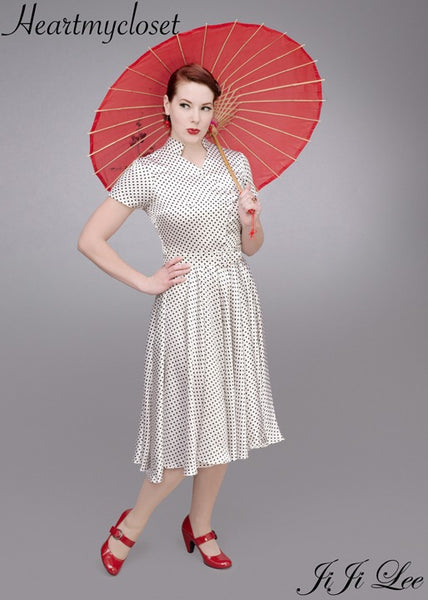 Helen - vintage polkadot swing dress with short sleeves