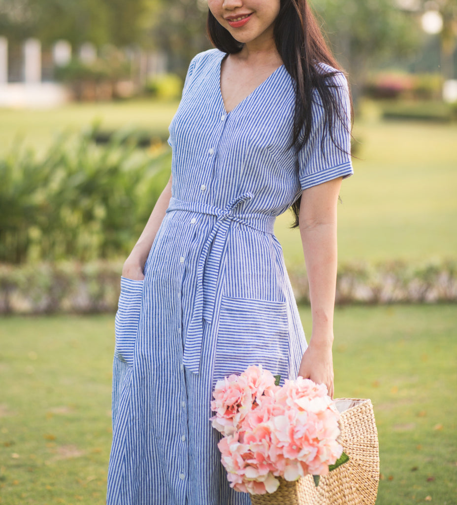 striped linen - casual shirt dress