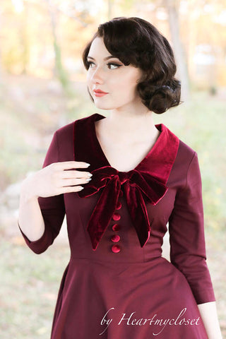 velvet trim burgundy dress - vintage inspired 50s