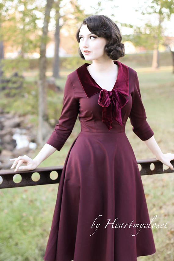 velvet trim burgundy dress - vintage inspired 50s - heartmycloset