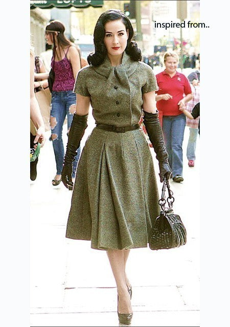 Keira - swing pleated skirt celebrity fold neckline - heartmycloset