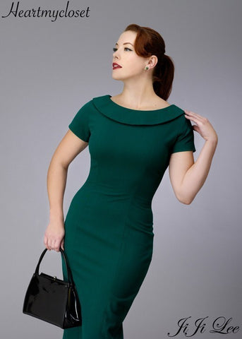 Elise - retro vintage pencil dress bow back