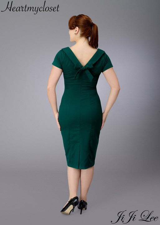 Elise - retro vintage pencil dress bow back - heartmycloset
