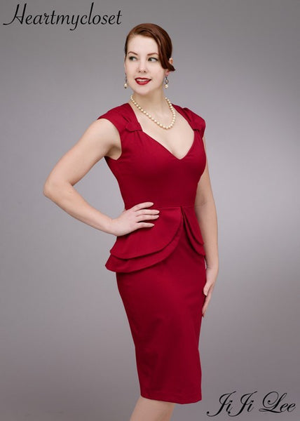Holly - sweetheart neckline peplum pencil dress